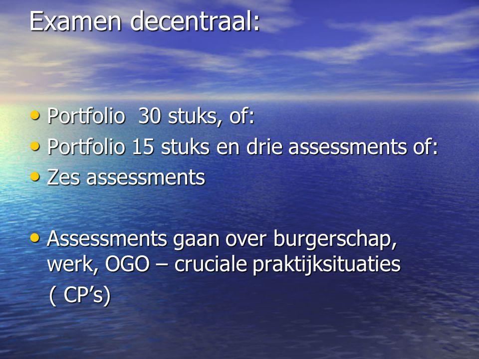 Examen decentraal: Portfolio 30 stuks, of: