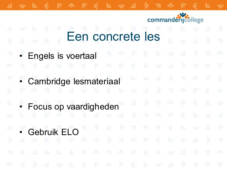 Een concrete les Engels is voertaal Cambridge lesmateriaal