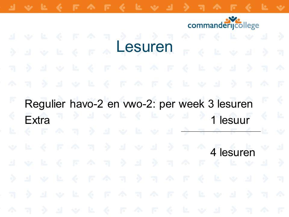 Lesuren Regulier havo-2 en vwo-2: per week 3 lesuren Extra 1 lesuur