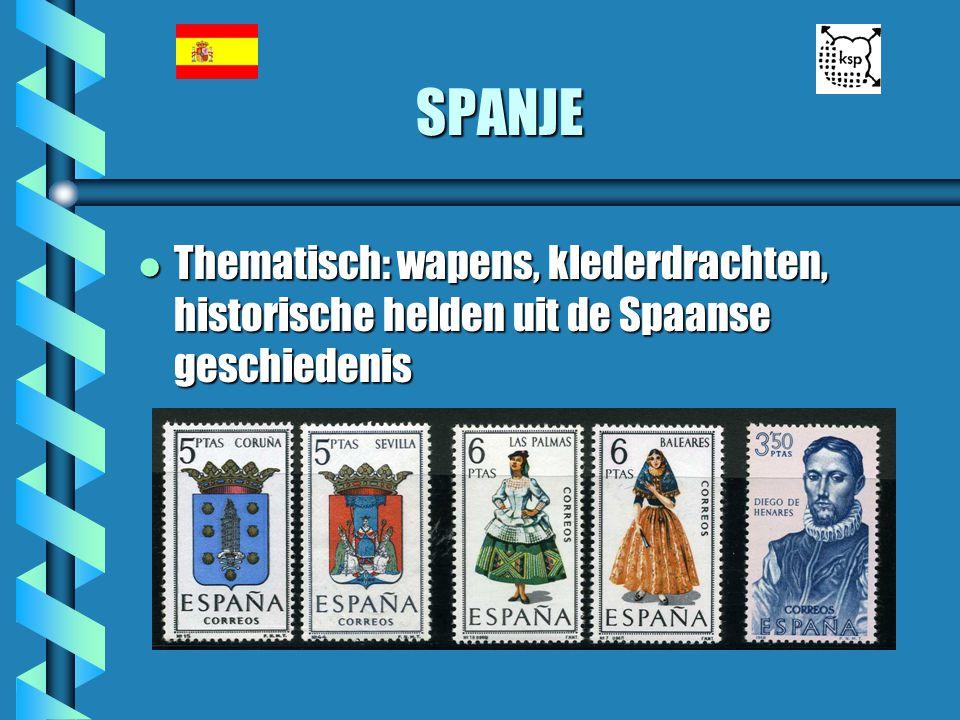 SPANJE Thematisch: wapens, klederdrachten, historische helden uit de Spaanse geschiedenis