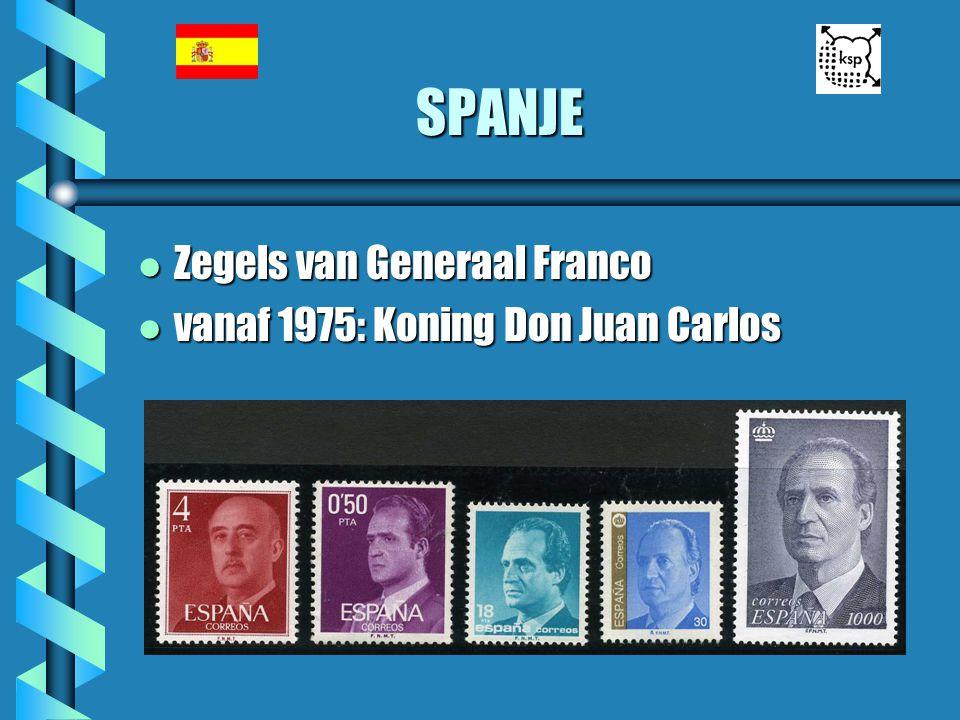 SPANJE Zegels van Generaal Franco vanaf 1975: Koning Don Juan Carlos