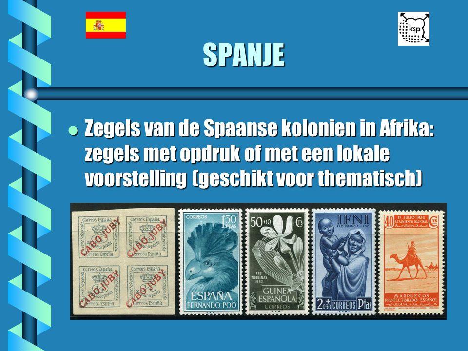 SPANJE Zegels van de Spaanse kolonien in Afrika: zegels met opdruk of met een lokale voorstelling (geschikt voor thematisch)