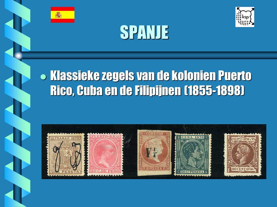 SPANJE Klassieke zegels van de kolonien Puerto Rico, Cuba en de Filipijnen (1855-1898)