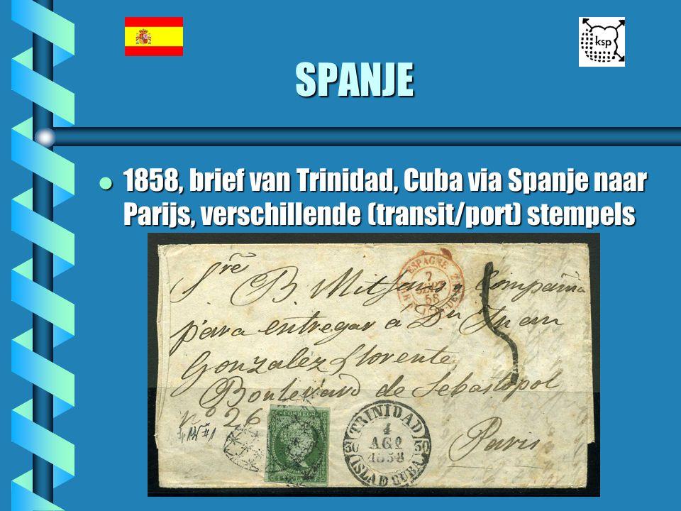 SPANJE 1858, brief van Trinidad, Cuba via Spanje naar Parijs, verschillende (transit/port) stempels