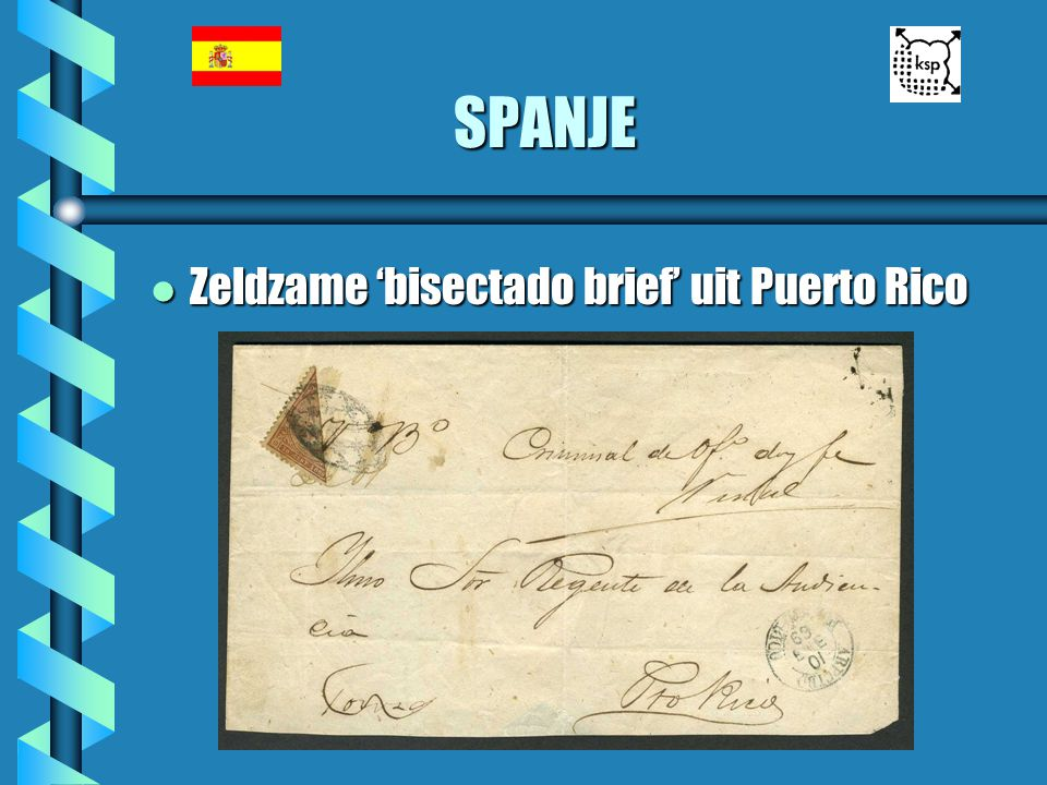 SPANJE Zeldzame 'bisectado brief' uit Puerto Rico