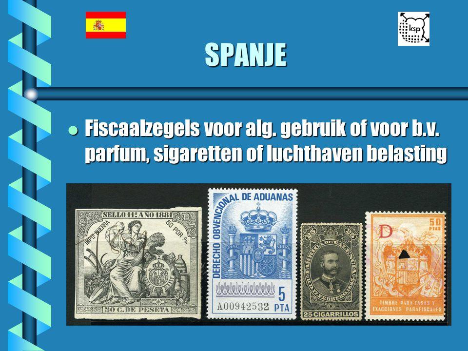 SPANJE Fiscaalzegels voor alg. gebruik of voor b.v. parfum, sigaretten of luchthaven belasting