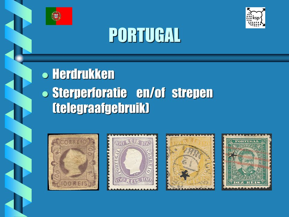 PORTUGAL Herdrukken Sterperforatie en/of strepen (telegraafgebruik)