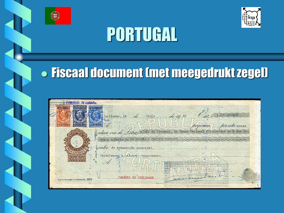 PORTUGAL Fiscaal document (met meegedrukt zegel)