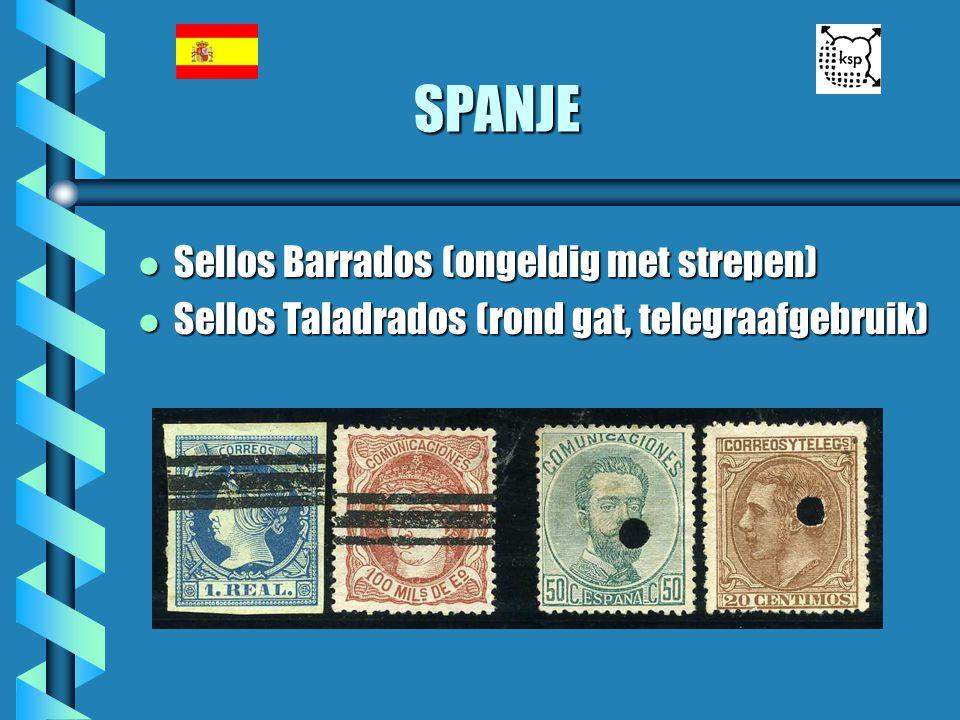 SPANJE Sellos Barrados (ongeldig met strepen)