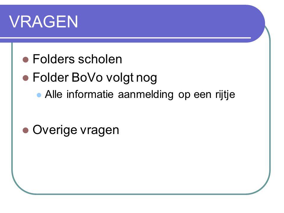VRAGEN Folders scholen Folder BoVo volgt nog Overige vragen