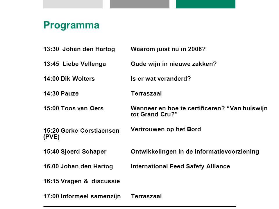 Programma 13:30 Johan den Hartog 13:45 Liebe Vellenga