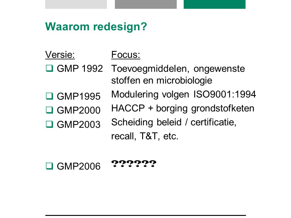 Waarom redesign Versie: GMP 1992 GMP1995 GMP2000 GMP2003 GMP2006