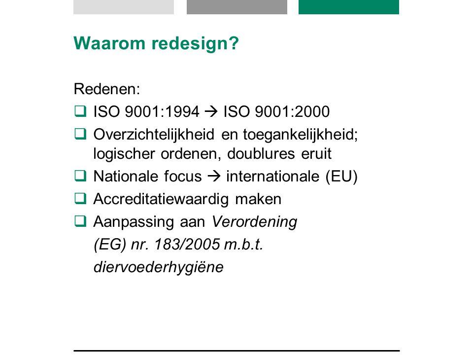 Waarom redesign Redenen: ISO 9001:1994  ISO 9001:2000
