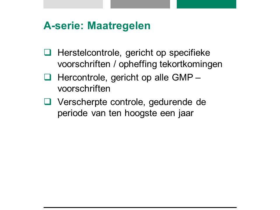 A-serie: Maatregelen Herstelcontrole, gericht op specifieke voorschriften / opheffing tekortkomingen.