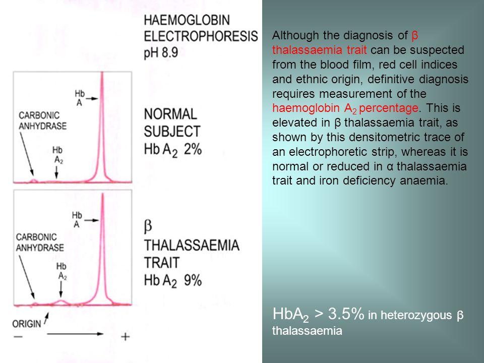 HbA2 > 3.5% in heterozygous β thalassaemia