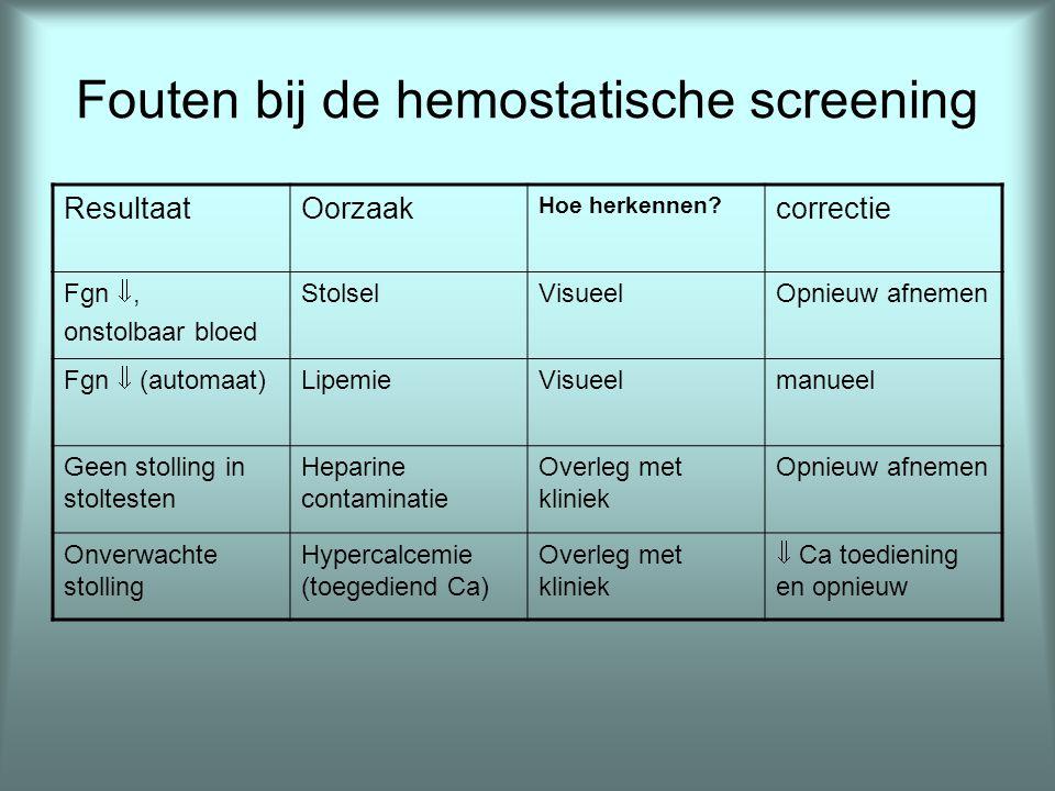 Fouten bij de hemostatische screening