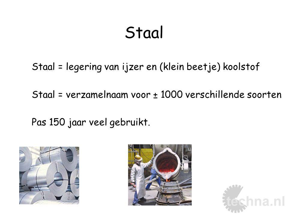Staal Staal = legering van ijzer en (klein beetje) koolstof