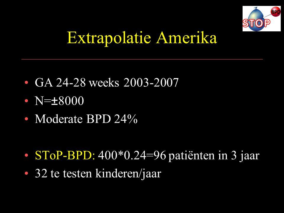 Extrapolatie Amerika GA 24-28 weeks 2003-2007 N=±8000 Moderate BPD 24%