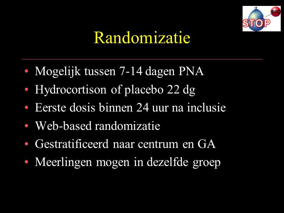Randomizatie Mogelijk tussen 7-14 dagen PNA