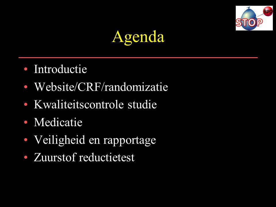 Agenda Introductie Website/CRF/randomizatie Kwaliteitscontrole studie