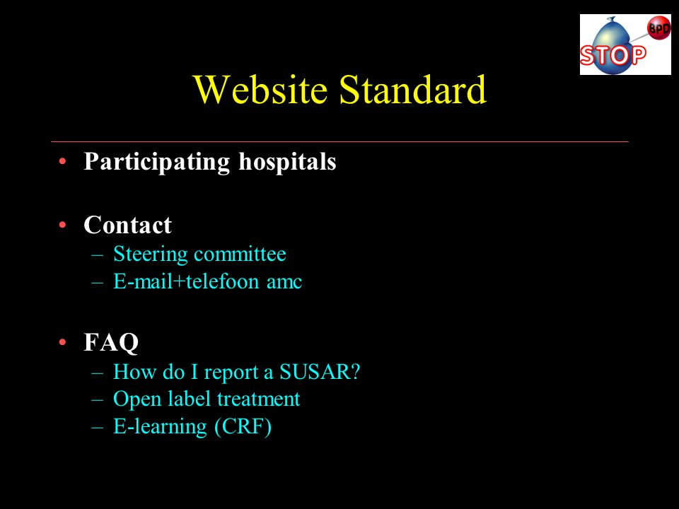 Website Standard Participating hospitals Contact FAQ