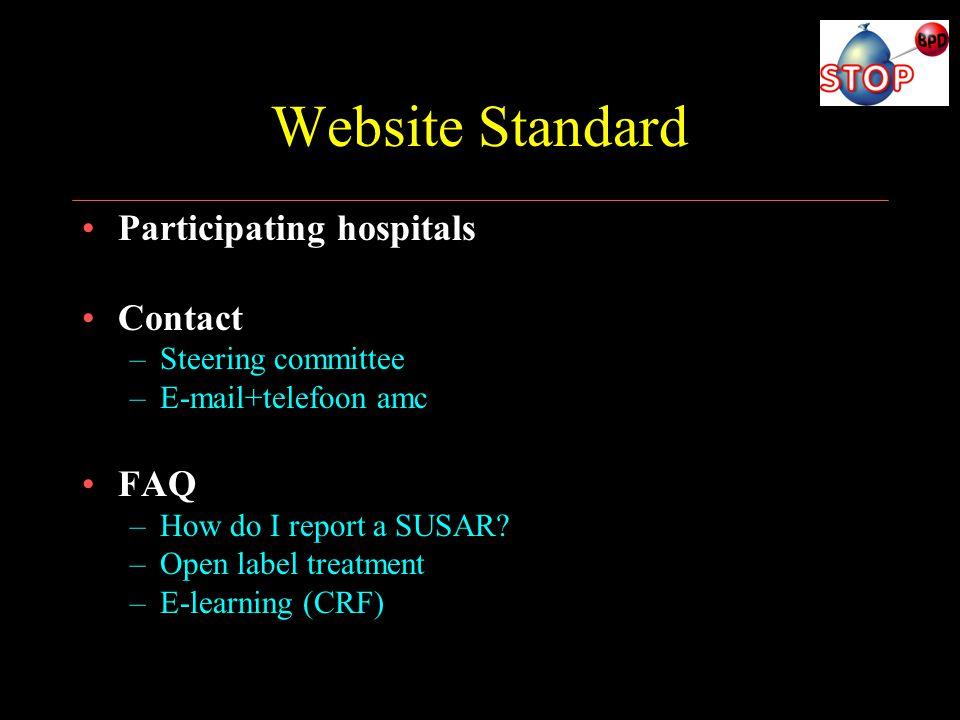 Website Standard Participating hospitals Contact FAQ