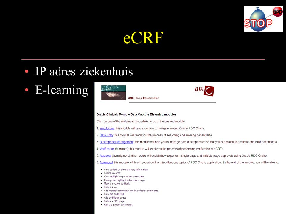 eCRF IP adres ziekenhuis E-learning