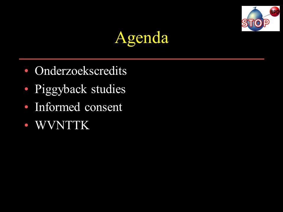 Agenda Onderzoekscredits Piggyback studies Informed consent WVNTTK