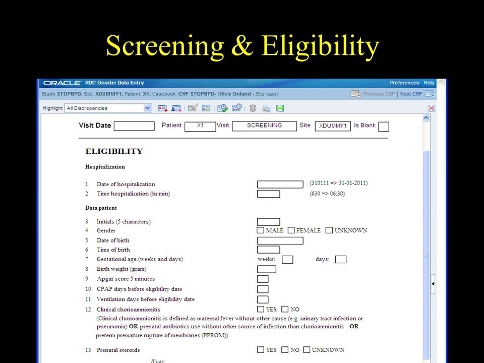 Screening & Eligibility