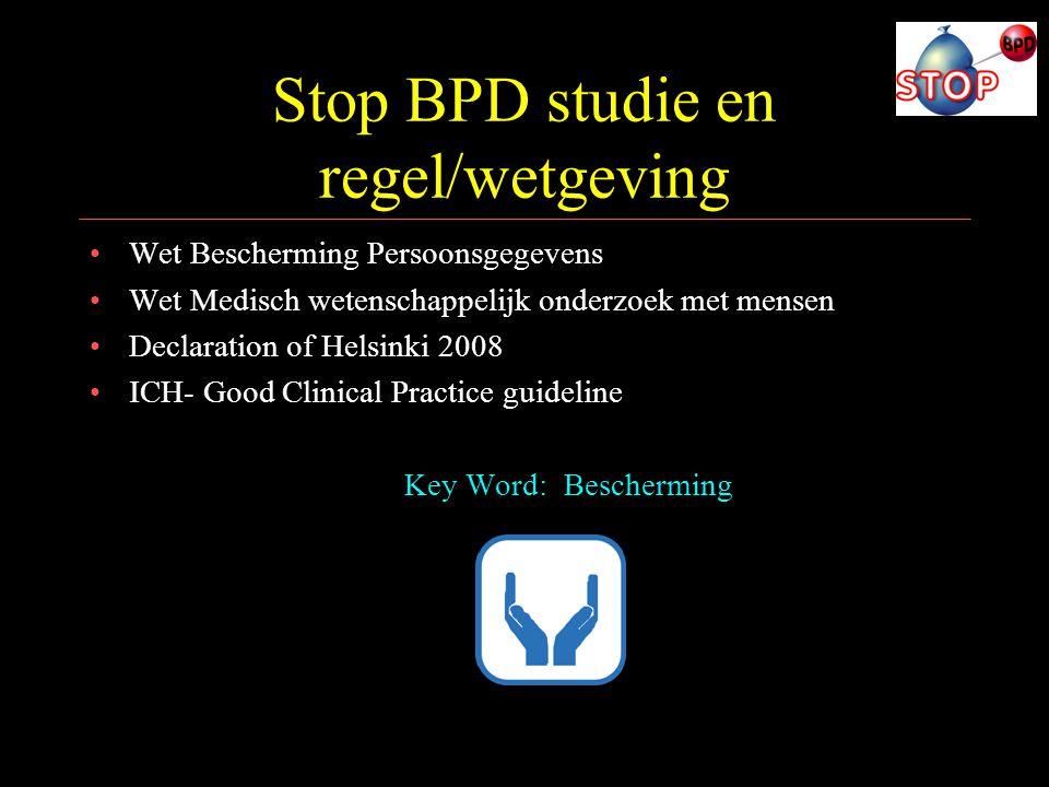 Stop BPD studie en regel/wetgeving