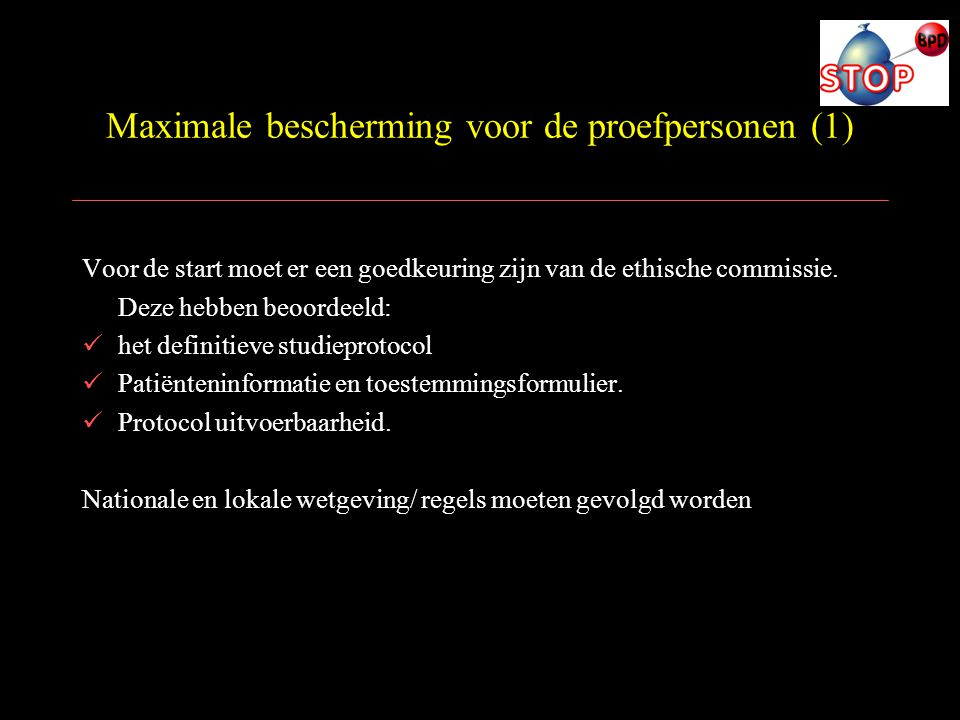 Maximale bescherming voor de proefpersonen (1)