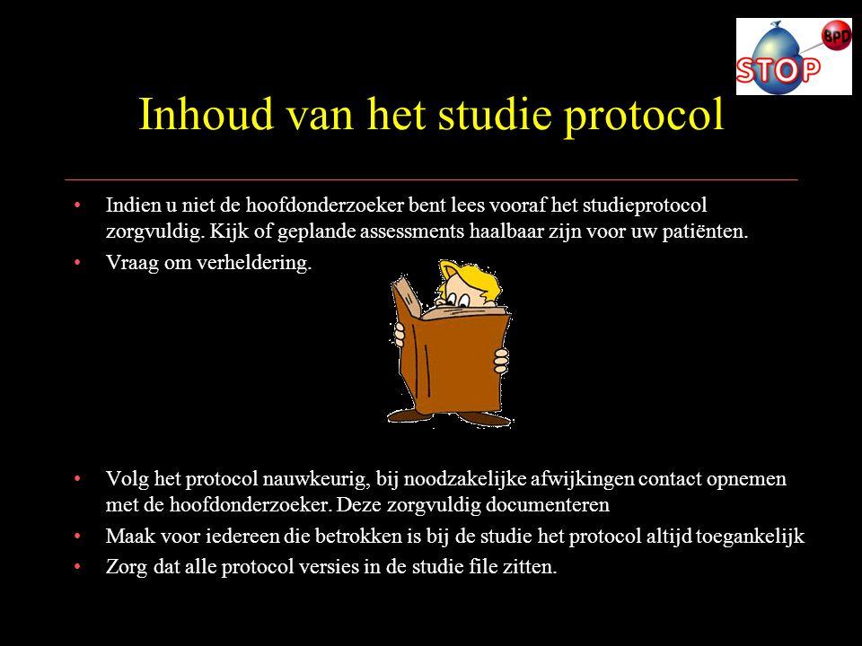 Inhoud van het studie protocol