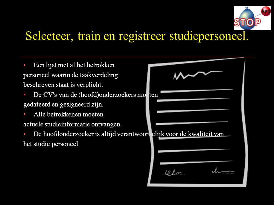 Selecteer, train en registreer studiepersoneel.