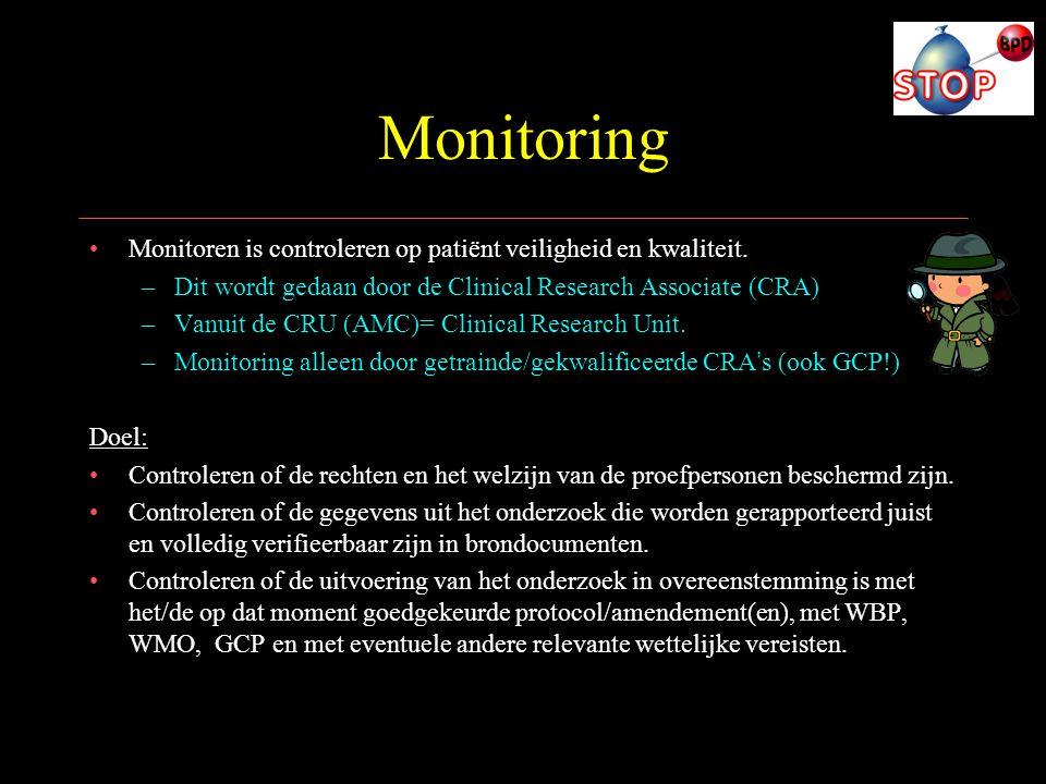 Monitoring Monitoren is controleren op patiënt veiligheid en kwaliteit. Dit wordt gedaan door de Clinical Research Associate (CRA)