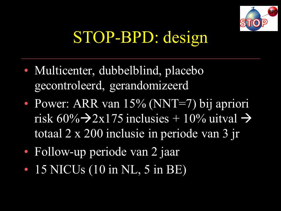 STOP-BPD: design Multicenter, dubbelblind, placebo gecontroleerd, gerandomizeerd.
