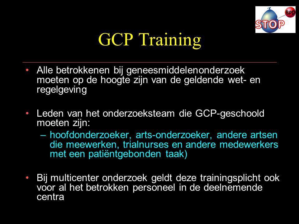 GCP Training Alle betrokkenen bij geneesmiddelenonderzoek moeten op de hoogte zijn van de geldende wet- en regelgeving.