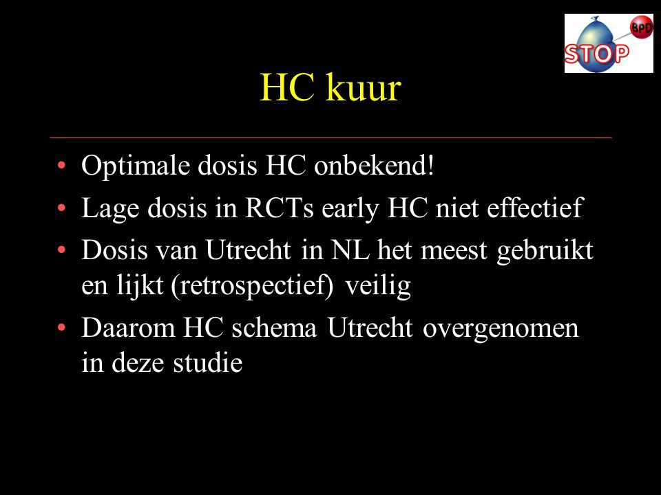 HC kuur Optimale dosis HC onbekend!