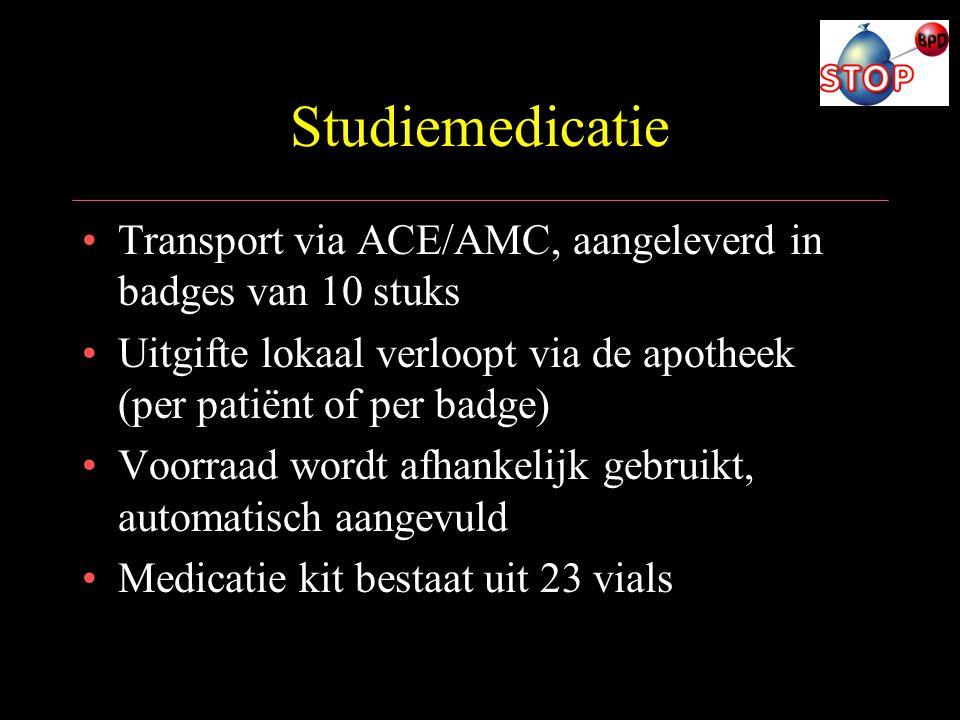 Studiemedicatie Transport via ACE/AMC, aangeleverd in badges van 10 stuks. Uitgifte lokaal verloopt via de apotheek (per patiënt of per badge)