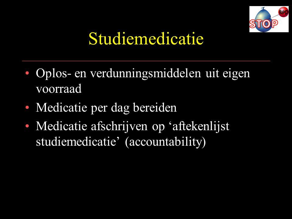 Studiemedicatie Oplos- en verdunningsmiddelen uit eigen voorraad