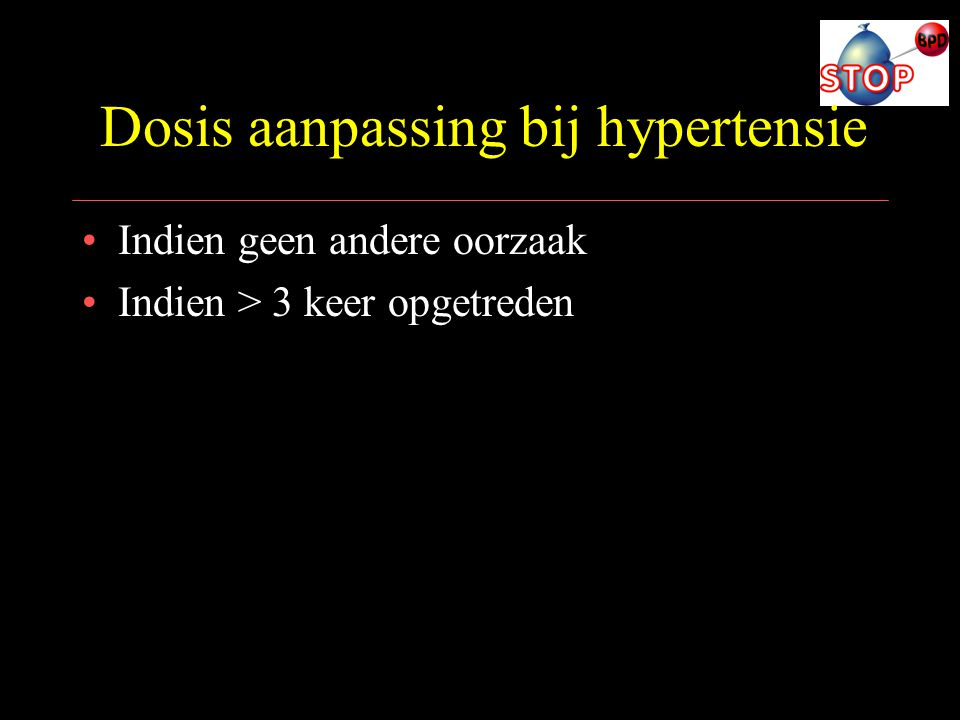 Dosis aanpassing bij hypertensie