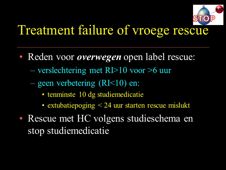 Treatment failure of vroege rescue