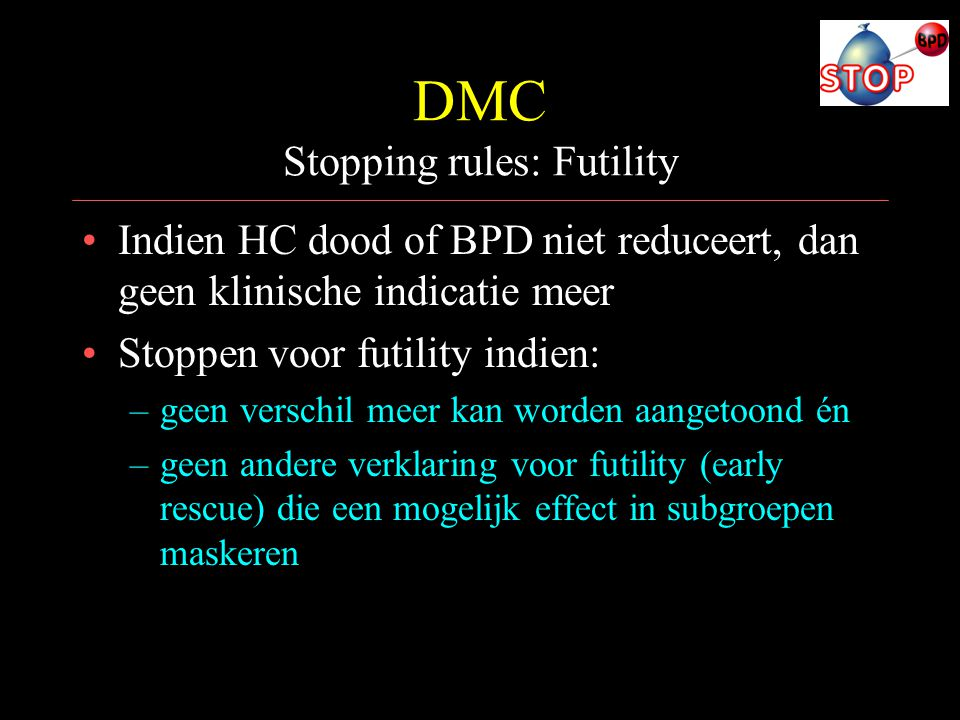 DMC Stopping rules: Futility