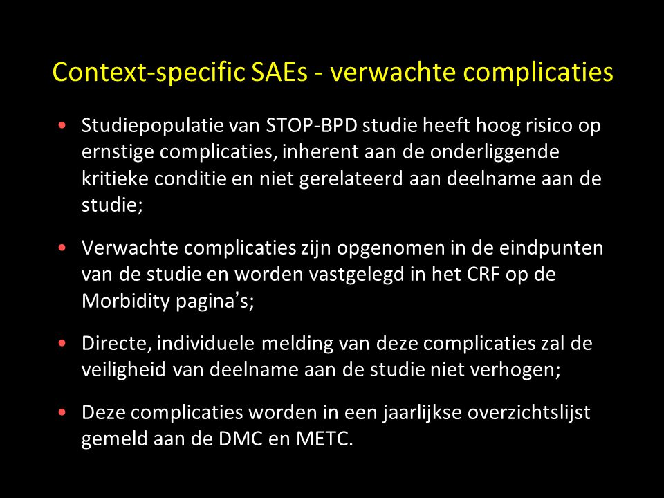 Context-specific SAEs - verwachte complicaties