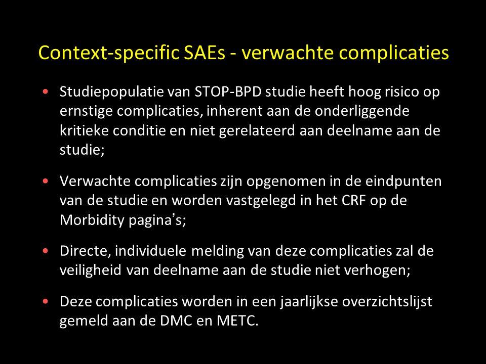 Context-specific SAEs - verwachte complicaties