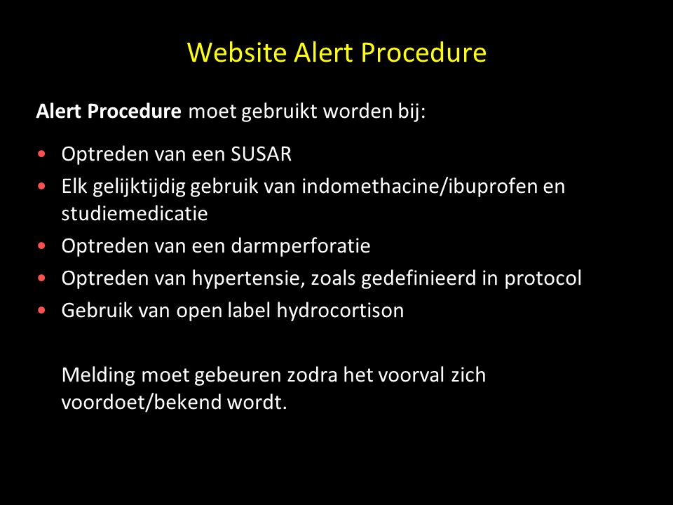 Website Alert Procedure