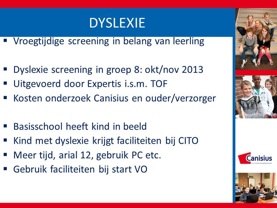 DYSLEXIE Vroegtijdige screening in belang van leerling