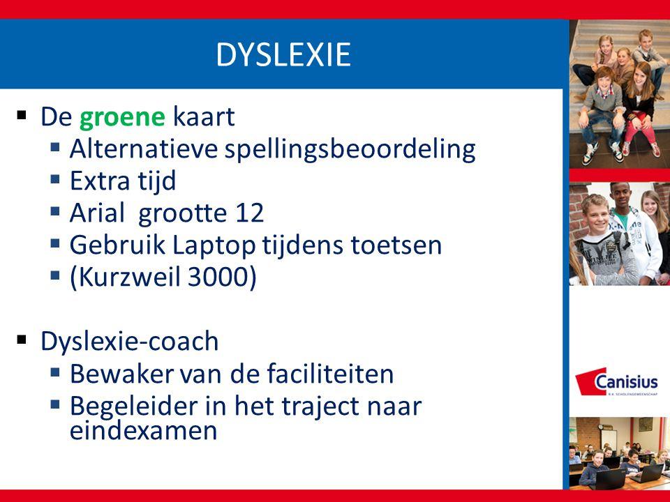 DYSLEXIE De groene kaart Alternatieve spellingsbeoordeling Extra tijd
