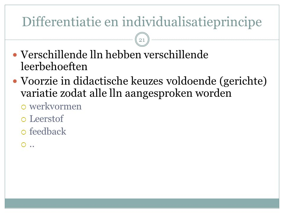 Differentiatie en individualisatieprincipe