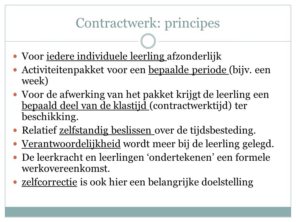 Contractwerk: principes