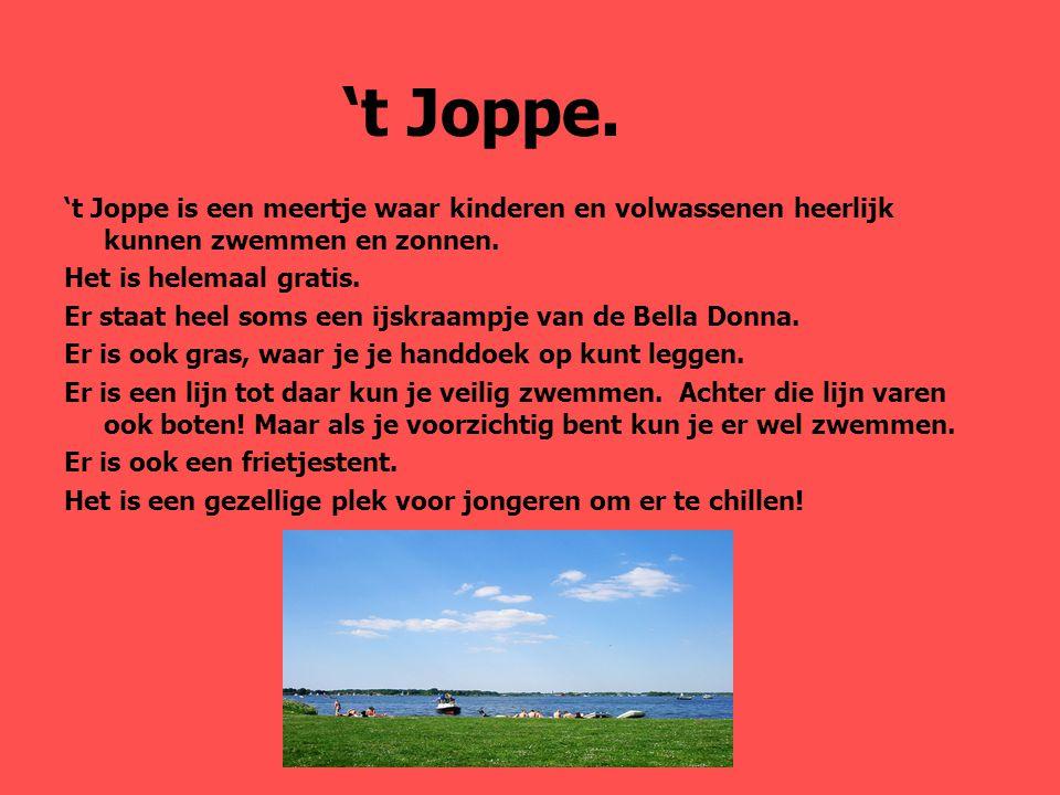 't Joppe. 't Joppe is een meertje waar kinderen en volwassenen heerlijk kunnen zwemmen en zonnen. Het is helemaal gratis.